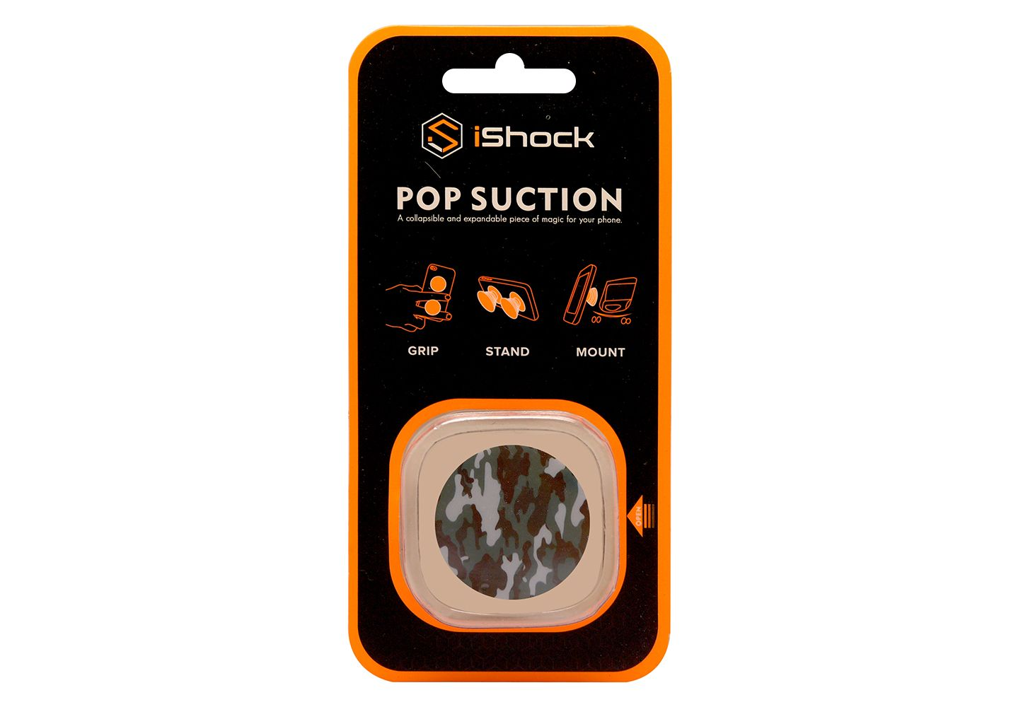 iShock Pop Suction Phone Grip Stand - Army