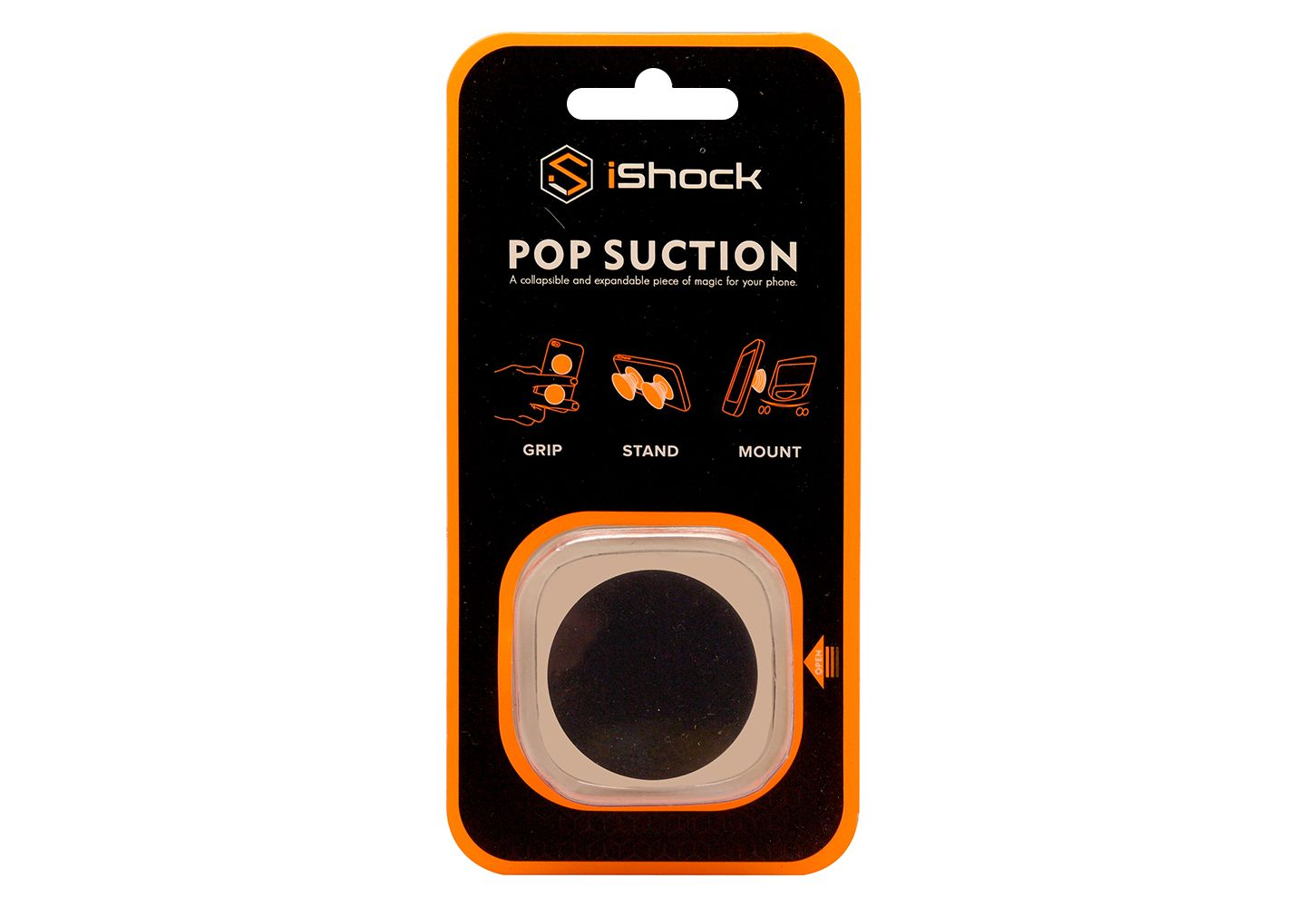 iShock Pop Suction Phone Grip Stand - Black