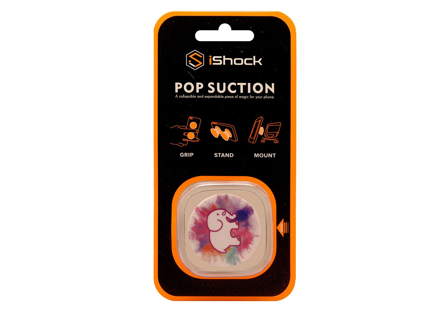 iShock Pop Suction Phone Grip Stand - Colourful Elephant