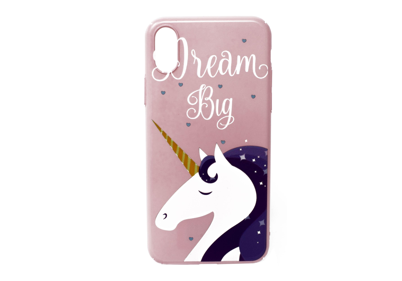 iPhone X Dream Big Unicorn Hard Pink Case